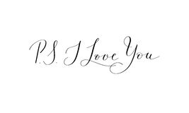 P.S. I Love You - hand written lettering positive quote to roman Royalty Free Stock Photos