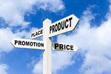 4 P's of marketing on a signpost in the sky Royalty Free Stock Photos