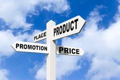4 p's van marketing op voorzien in de hemel van wegwijzers Royalty-vrije Stock Foto's