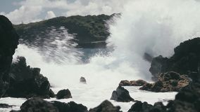 1080p, Shore Line, Coast Line, Hawaii with big waves Stock Photos