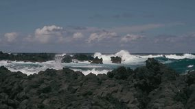 1080p, Shore Line, Coast Line, Hawaii with big waves Royalty Free Stock Photography