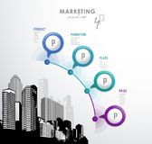 4p strategy business concept marketing infographic background. Vector art royalty free illustration