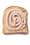Pâté spread on slice of bread Royalty Free Stock Photo