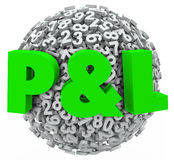 P und L Gewinn-Verlust-Zahl-Budget-Einkommens-Einkommens-Zahlen Stockfotografie
