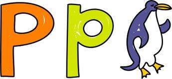 P is voor pinguïn Royalty-vrije Stock Afbeeldingen