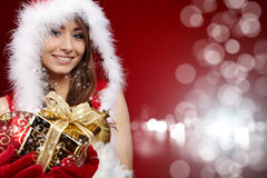 P vrouw met aanwezige Kerstmis Stock Afbeelding