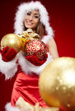 P woman with Christmas present Stock Photo