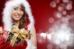 P woman with Christmas present Stock Image