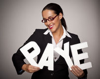 P.A.Y.E. for woman. Stock Photo