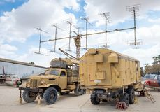 The P-12 Yenisei vintage radar system ( NATO name Spoon Rest A) displayed at the Israeli Air Force Museum. BEER-SHEVA, HATZERIM, ISRAEL - MAY 9, 2019: The P-12 royalty free stock photos