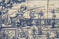 Płytka, Talavera, obraz, rybak w stawie Fotografia Stock