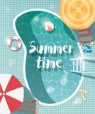 Pływacki basen, odgórny widok, lato czasu wakacje wakacje, jasny wat Obrazy Stock