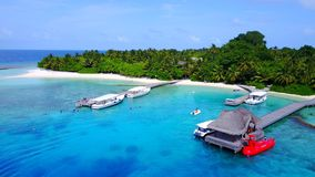 Free P02511 Aerial Flying Drone View Of Maldives White Sandy Beach Jetty Boat Luxury 5 Star Resort Hotel Relaxing Holiday Stock Photo - 101811670