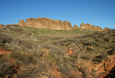 P6144 Devil's Backbone Trail. Red rocks of Devil's Backbone Trail in Loveland Colorado with blue sky in the background and green vegetation in the foreground Royalty Free Stock Photos