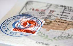 Paß mit Zypern-Visum und Stempeln Stockfotos