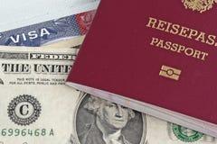 Paß und US-Visum Stockbilder
