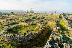 Plateau Citania de Sanfins Portugal. Paços de Ferreira, Portugal - October 19, 2014 : Citânia de Sanfins, located on a plateau, in a summit position that gave stock photos