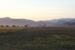 País da exploração agrícola do amanhecer Fotografia de Stock Royalty Free