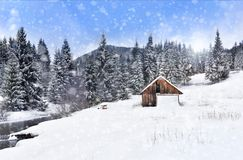 País das maravilhas do inverno com abeto Cumprimentos do Natal Imagem de Stock