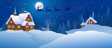 País de las maravillas del invierno de la noche de la Navidad stock de ilustración