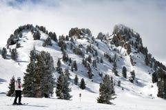 País del esquí del bosque en Mayrhofen-Hippach imagenes de archivo
