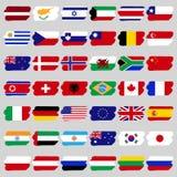 País famoso, um grupo de bandeiras sob a forma dos pontos Fotos de Stock Royalty Free