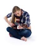 País-muchacha con la guitarra fotos de archivo