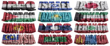 Países asiáticos (de I M) às palavras da bandeira Fotos de Stock Royalty Free