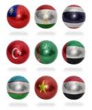 Países asiáticos (de T Y) às bolas da bandeira Foto de Stock Royalty Free