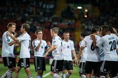Países Baixos contra Dinamarca na ação durante o futebol m Fotos de Stock Royalty Free