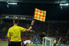 Países Baixos contra Dinamarca na ação durante o futebol m Imagem de Stock