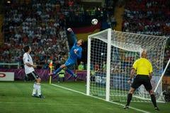 Países Baixos contra Dinamarca na ação durante o futebol m Fotos de Stock
