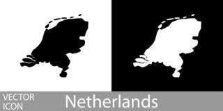 Países Baixos detalharam o mapa ilustração royalty free