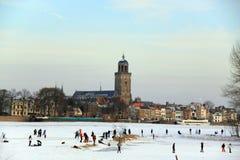 Países Baixos do inverno do divertimento da patinagem de gelo Imagem de Stock