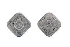 Países Baixos moeda 1929 de cinco centavos Fotos de Stock