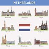 Países Baixos. Símbolos das cidades ilustração stock