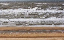 PAÍSES BAJOS, ABRIL DE 2017: Windy Cold Beach en el norte de la Europa Hay una pequeña figura de Kitersurfer en las ondas Foto de archivo