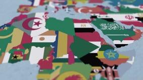 Países da África 3D Mapa com Fronteiras e Sinalizadores ilustração do vetor