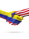 Países das bandeiras Equador e do Estados Unidos, aperto de mão overprinted Imagem de Stock Royalty Free