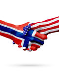 Países das bandeiras Noruega e do Estados Unidos, aperto de mão overprinted Fotografia de Stock