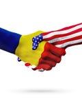 Países das bandeiras Romênia e do Estados Unidos, aperto de mão overprinted Foto de Stock