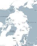 Países de la región ártica y mapa político Norte de Polo Fotos de archivo