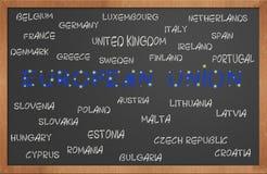 Países de la unión europea en la pizarra Foto de archivo libre de regalías