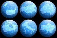 Países de las colecciones en el globo Imagenes de archivo