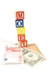 Países de Valuta com dinheiro em blocos de madeira Imagem de Stock Royalty Free