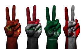 Países del símbolo 4 de la mano de la paz fotografía de archivo