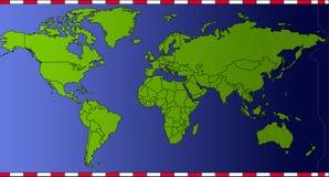 Países del verde de la correspondencia del tiempo del mundo Imagen de archivo libre de regalías