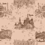 Países do curso do teste padrão do marrom do desenho de esboço Fotos de Stock
