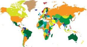 Países do mapa do mundo nos vetores Fotos de Stock