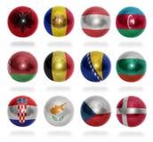 Países europeos (de A D) a las bolas de la bandera Imagen de archivo